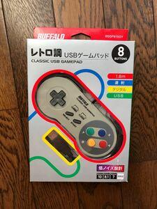 PC USBコントローラー iBUFFALO USBゲームパッド 8ボタン グレー バッファロー 周辺機器