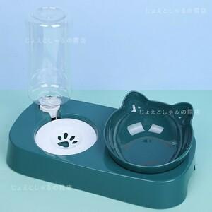 犬猫 自動給水 ダブルフードボウル ペット用食器 餌入れ 猫耳 グリーン 可愛い