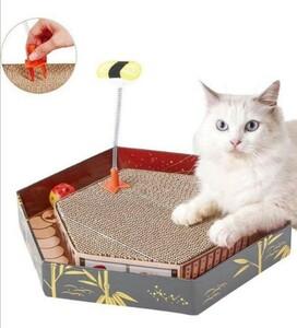 ストレス解消 爪とぎ ボール付き おもちゃ 高密度ダンボール 猫用品 かわいいねこ 小動物