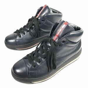 【プラダ】本物 PRADA 靴 27cm ネイビー系 ロゴモチーフ ハイカットシューズ スニーカー カジュアルシューズ 本革 レザー 男性用 メンズ 8