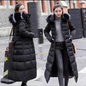 レディースロングコート アウター 防寒 ロング丈 中綿ジャケット 中綿コート フード付き ダウンジャケット ダウンコート コート