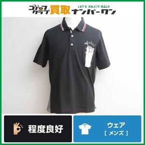 【程度良好 吸水速乾】アダバット adabat メンズ ポロシャツ 半袖 ブラック サイズ50 LLサイズ 男性用 トップス ゴルフウェア