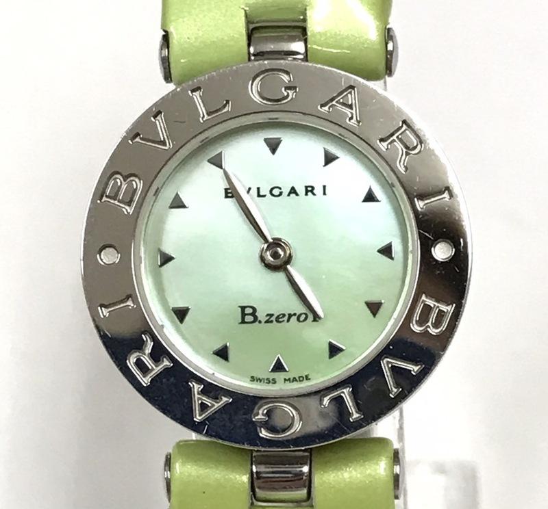 ▽▼BVLGARI ブルガリ B-zero1 ビーゼロワン BZ22S 腕時計 シェル 文字盤 グリーン 黃緑 レディース クォーツ 純正ベルト▼▽