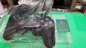 PS2 プレステ2 PlayStation2 コントローラー 黒 もちろん動作品 PS2用メモリーカード 1個付♪
