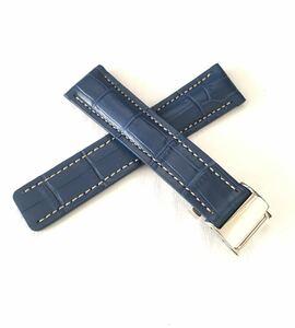 腕時計 メンズ用 レザー 革ベルト スカイブルー×ベージュステッチ 22mm Dバックル 【対応】BREITLING ブライトリング