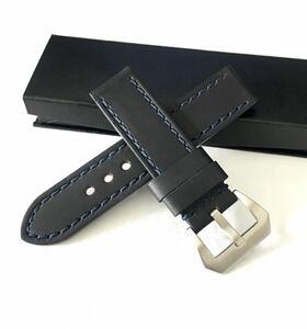 腕時計 メンズ用 HORWEENクロムエクセルレザー 革ベルト 24mm ブラック×ブルー Made in USA 【対応】パネライ PANERAI