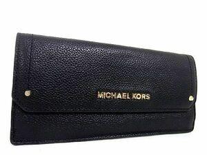 1円 MICHAEL KORS マイケルコース レザー ゴールド金具 二つ折り 長財布 ウォレット 札入れ 小銭入れ レディース ブラック系 S1711Kh