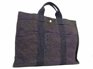 1円 ■美品■ HERMES エルメス エールラインMM キャンバス トートバッグ ハンドバッグ 手持ちかばん メンズ レディース グレー系 Q7003qM