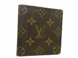 1円 LOUIS VUITTON ルイヴィトン M60905 モノグラム ポルトビエ カルトブルー 二つ折り 財布 ウォレット 札入れ ブラウン系 S2333Uk