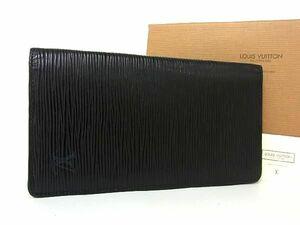 1円 LOUIS VUITTON ルイヴィトン M63212 エピ ポルトカルトクレディ 二つ折り 長財布 ウォレット メンズ ノワール ブラック系 R1323uN