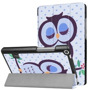 MediaPad T3 7.0タブレット専用 マグネット開閉式 スタンド機能付き 三つ折カラフルカバー 薄型 軽量型 高品質PUレザーケース フクロウ