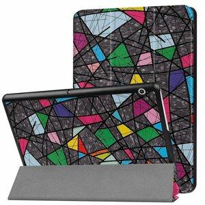 Huawei MediaPad T3 10 専用マグネット開閉式 スタンド機能付き専用三つ折ケース 薄型 軽量型 高品質PUレザーケース バラ窓