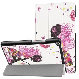Huawei Mediapad T3 8.0 タブレット専用スタンド機能付きケース 三つ折 軽量型 薄型 高品質(2017モデル)PUレザーケース 蝶の少女