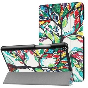 Huawei Mediapad T3 8.0 タブレット専用スタンド機能付きケース 三つ折 軽量型 薄型 高品質(2017モデル)PUレザーケース 花の木