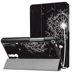 MediaPad T3 7.0タブレット専用 マグネット開閉式 スタンド機能付き 三つ折カラフルカバー 薄型 軽量型 高品質PUレザーケース タンポポ