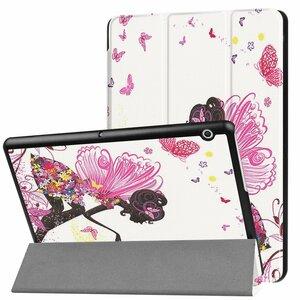 Huawei MediaPad T3 10 専用マグネット開閉式 スタンド機能付き専用三つ折ケース 薄型 軽量型 高品質PUレザーケース 蝶の少女