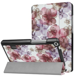 MediaPad T3 7.0タブレット専用 マグネット開閉式 スタンド機能付き 三つ折カラフルカバー 薄型 軽量型 高品質PUレザーケース 花