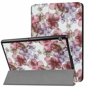 Huawei MediaPad T3 10 専用マグネット開閉式 スタンド機能付き専用三つ折ケース 薄型 軽量型 高品質PUレザーケース 花
