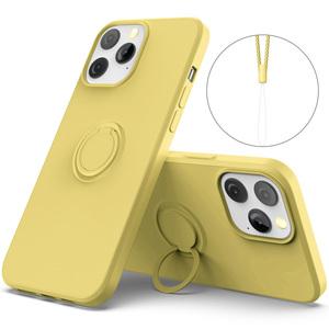 iPhone13 Pro リング付き ソフトケース TPU保護ケース イエロー