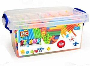 400pcs Ms.0 2021年 やわらかい ストローチューブ 式 創作 パズル 知育玩具 おもちゃ ブロック 積み木 ホース