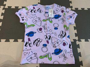 140 未使用タグ付き 半袖Tシャツ 総柄 プリント キッズ 子供 トップス ファッション 女の子 ヒスミニ