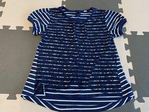 130 Tシャツ ボーダー 子供 キッズ 中古 女の子 半袖 トップス