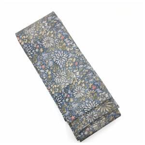 上質 正絹 男物 地紋 鮫小紋 花模様 小紋地 全通 角帯 長さ390 巾12 中古品