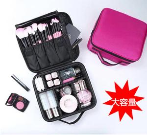 コスメバッグ持ち運び化粧品 コスメポーチ メイク 小物入れ 大容量収納ケース 赤