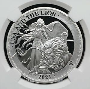★ 最高鑑定 ファーストリリース ★ 2021年 ウナとライオン 1ポンド 銀貨 NGC PF70 UC FR セントヘレナ アンティーク モダン コイン