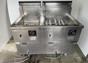 【動作確認済】マルゼン 業務用ゆで麺機 冷凍綿釜 MRF-106C 2槽式 W1050mm×D600mm×H800mm LPガス 熱機器 厨房機器 飲食店 中古