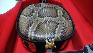 三線 蛇革 蛇皮 ケース付 セット 本革 琉球三味線 美品