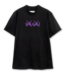 ■送料無料■ サイズ2 sacai KAWS Flock Print T-Shirt 黒 紫 Black purple サカイ カウズ Tシャツ ブラック Tee