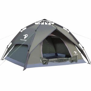 YACONE テント ワンタッチテント 4人用 2WAY テント 二重層 設営簡単 uvカット加工