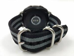 ナイロン製ミリタリーストラップ 交換用腕時計ベルト 黒グレーストライプ ブラック 18mm