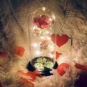 新品赤-キラキラ バラ 造花 薔薇 お花 ローズ 花束 LEDライト付き キラキラ バレンタイン プレゼント 雰囲気F6TB