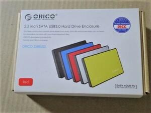 新品 ORICO オリコ USB3.0接続 2.5インチ HDDケース 外付け ドライブケース SATA3.0 対応 SSDケース 7mm/9.5mm レッド 赤 2588US3