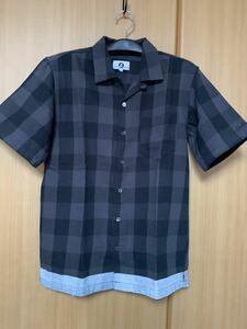 ★グッドイナフ★半袖ブロックチェックラインネルシャツ★Mサイズ★黒×灰★