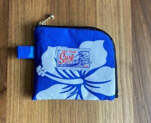 ハンドメイド☆ L字ファスナー財布 ミニ財布 カード入れ 小銭入れ ミニポーチ ハワイ フラ 青 L021