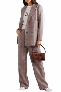 【GANNI】ガニー ダスティpinkチェック キャディ ストレート パンツ 34 ポリ×レーヨン くすみピンク ワイド スラックス ストレッチ