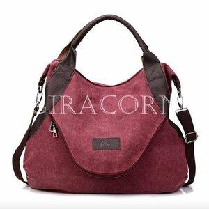 新品ショルダーバッグレディースハンドバッグ女性鞄かばん2way大容量キャンバス肩掛けトートバッグ旅行アウトドア