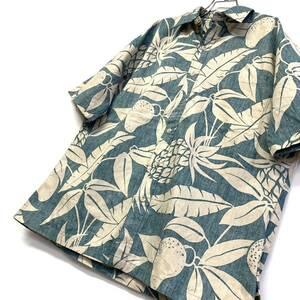 美品 ハワイUSA製 Tori Richard ハワイアン ボタニカルモチーフ コットンアロハシャツ メンズM