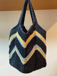 ハンドメイド毛糸バック スクエアトートバッグ