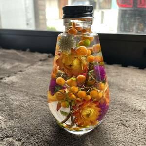 秋色 ハーバリウム しずく瓶 200 ツルウメモドキ 貝細工 ハロウィン オレンジ Angelarium ドライフラワー 山野草 木の実