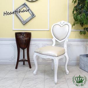 【送料無料】アンティーク調食卓椅子 猫脚 ダイニングチェア 姫系 白家具 ホワイトフェイクレザー シングルチェア 6087-F-18PU8