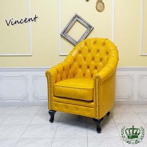 ヴィンセントソファ 英国伝統 チェスターフィールド ハイバックモデル 一人掛け 黄 イエローPUレザー シングルソファ VA1P69K