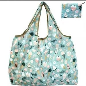 エコバッグ折りたたみ簡単 買い物袋ポケット付き ショッピングバッグ 大容量 アイスクリーム柄1枚