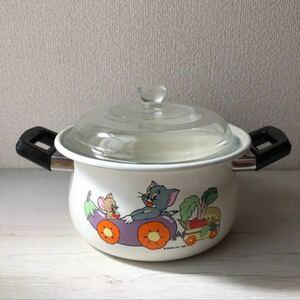 【レア】トムとジェリー 昭和レトロ ホーロー鍋 両手鍋20 耐熱ガラス蓋付き