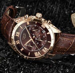 ★新品★激安★大人気 時間日付クォーツ時計ブラウンレザースポーツ腕時計レロジオmasculino 24 2020 Lige腕時計男性