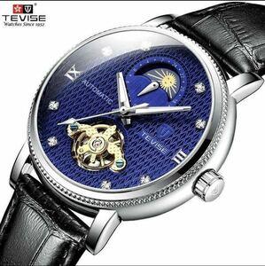 【最安値】メンズ高級腕時計 機械式 自動巻 トゥールビヨン ムーンフェイズ表示 本革ベルト 紳士 ビジネス 夜光 防水 ブラック