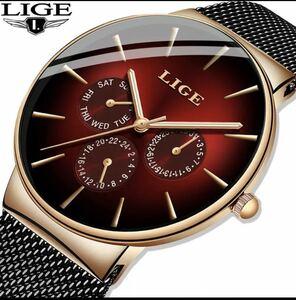 【新品】2019 LIGE カジュアル薄型メッシュベルトファッション金時計メンズ腕時計トップブランドの高級スポーツ防水時計レロジオ Masculino